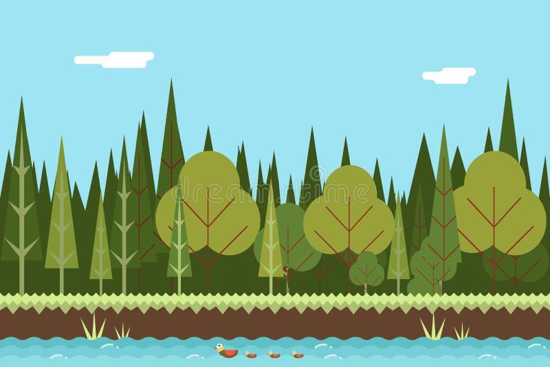 Sömlös Wood design för lägenhet för flodnaturbegrepp stock illustrationer