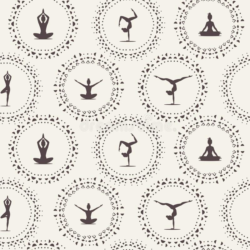 Sömlös yoga vektor illustrationer