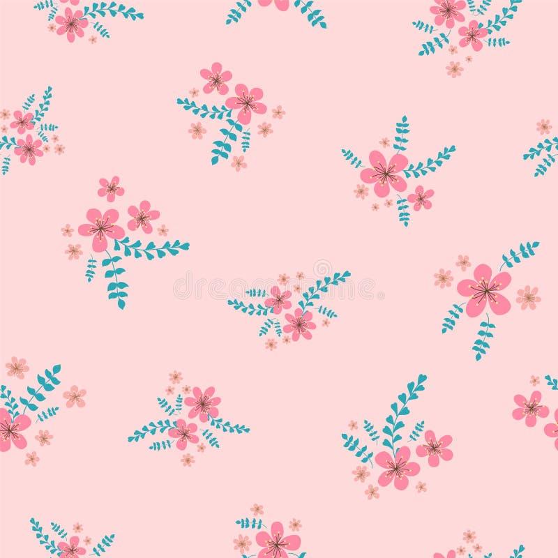 Sömlös yttersidamodell med rosa motiv för körsbärsröda blomningar på rosa kulör bakgrund Vektorillustration med körsbärsröda blom vektor illustrationer