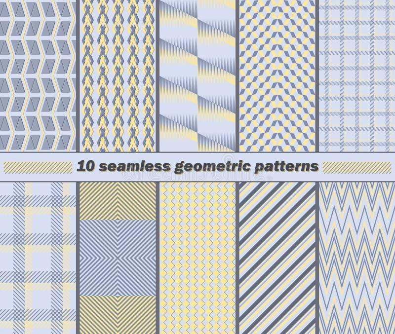 10 sömlösa abstrakta geometriska modeller i guling, blått, grått Co stock illustrationer