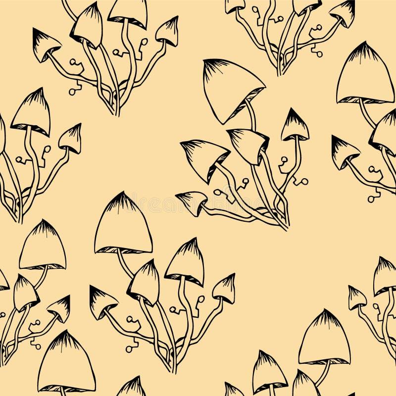 Sömlösa abstrakta modellpsilocybinchampinjoner royaltyfri illustrationer