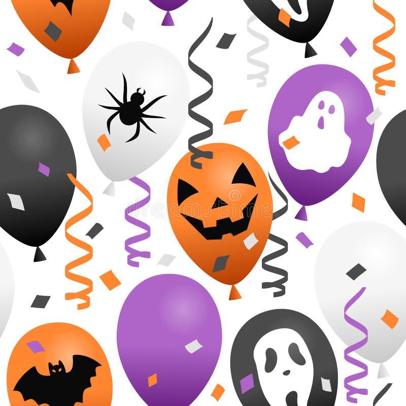 Sömlösa allhelgonaaftonballonger & konfettier stock illustrationer