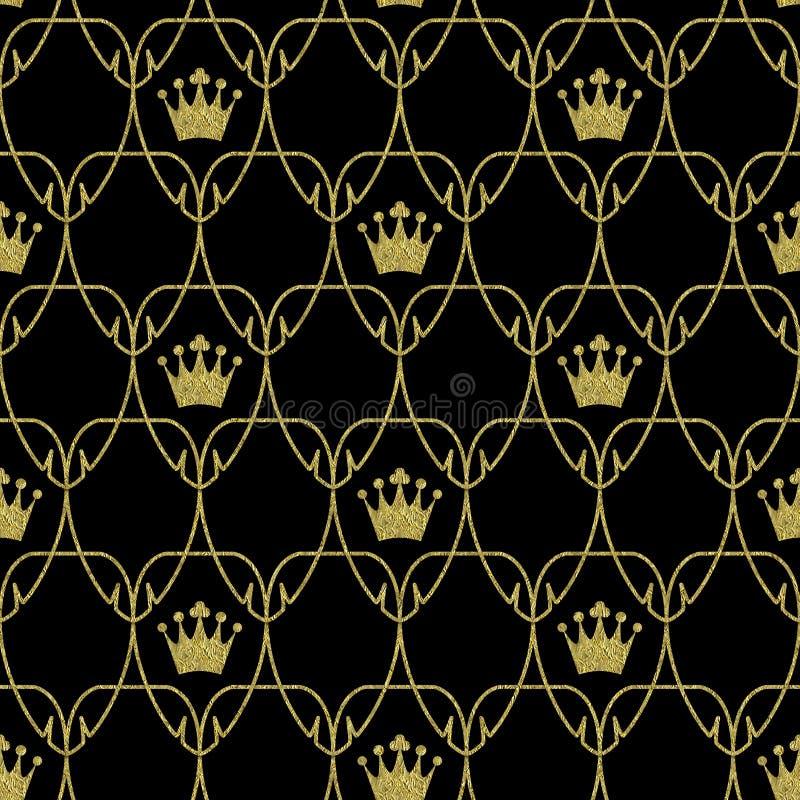 Sömlösa Art Nouveau Crowns Scale Pattern med guld stock illustrationer