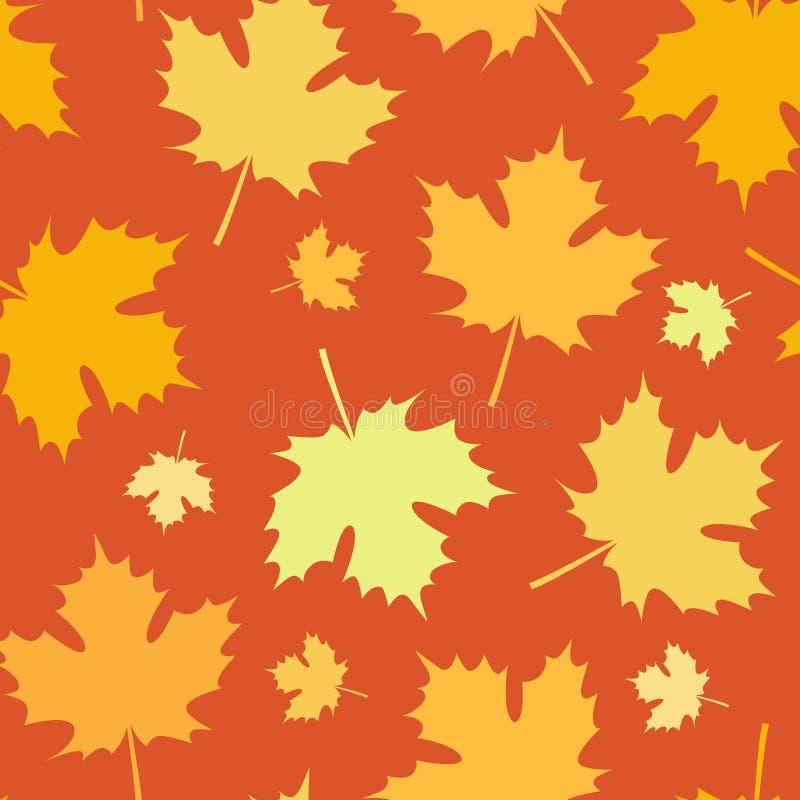 Sömlösa Autumn Pattern med sidor faller stock illustrationer