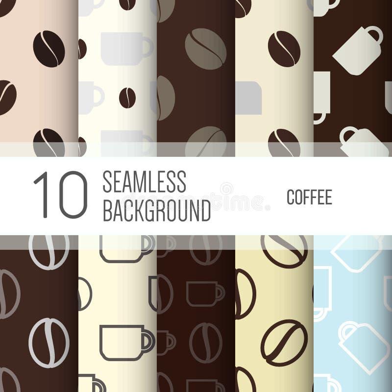10 sömlösa bakgrunder eller modeller med kaffe vektor illustrationer