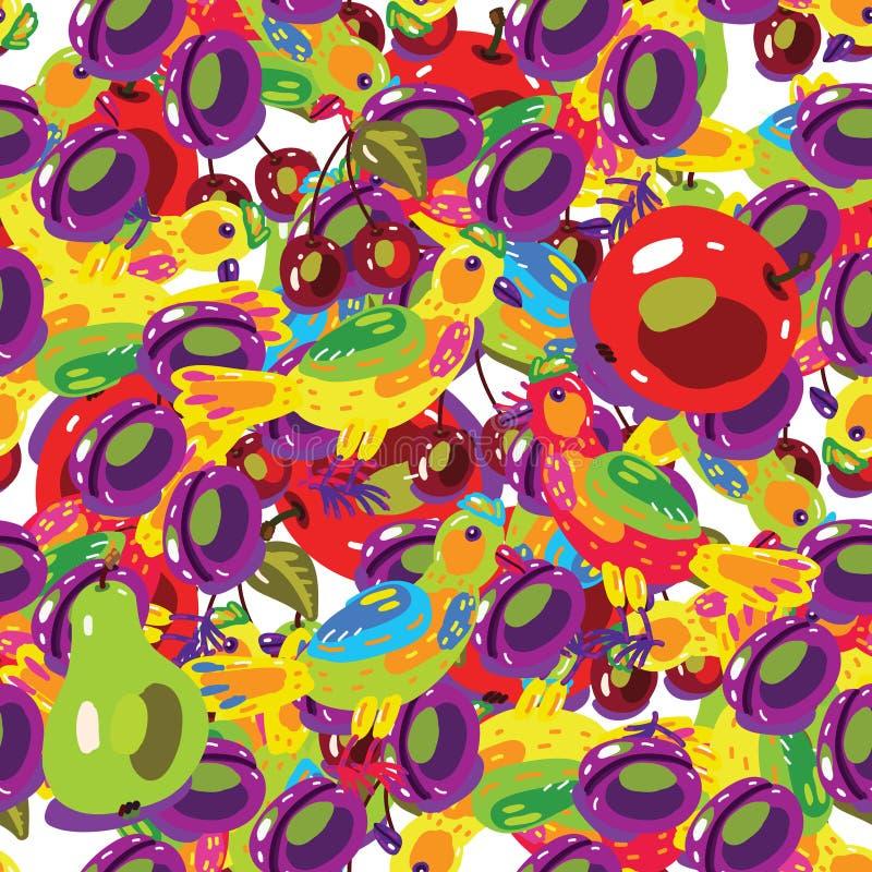 Sömlösa bakgrunder med frukter vektor illustrationer