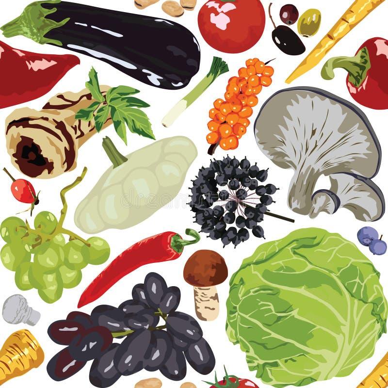 Sömlösa bakgrundshöstgrönsaker stock illustrationer
