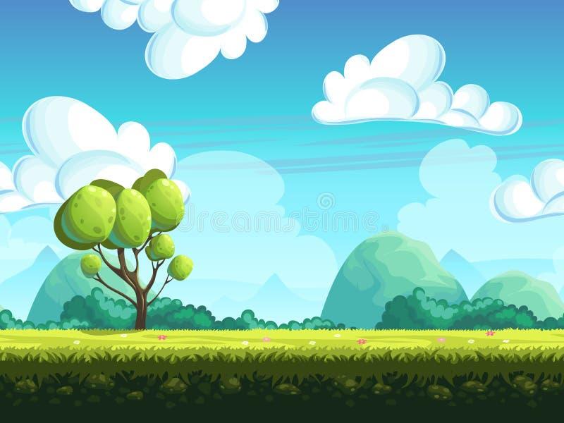 Sömlösa bakgrundsträd och stenar från kullarna royaltyfri illustrationer