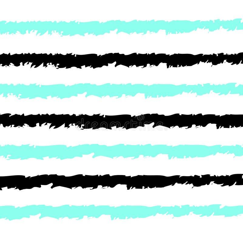 Sömlösa band mönstrar vektorbakgrund med horisontalhanden som dras som den svart- och för aquablålinjenvit bakgrunden stock illustrationer