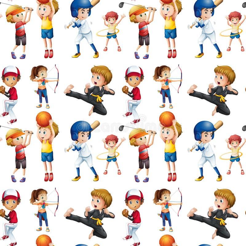 Sömlösa barn och sportar vektor illustrationer