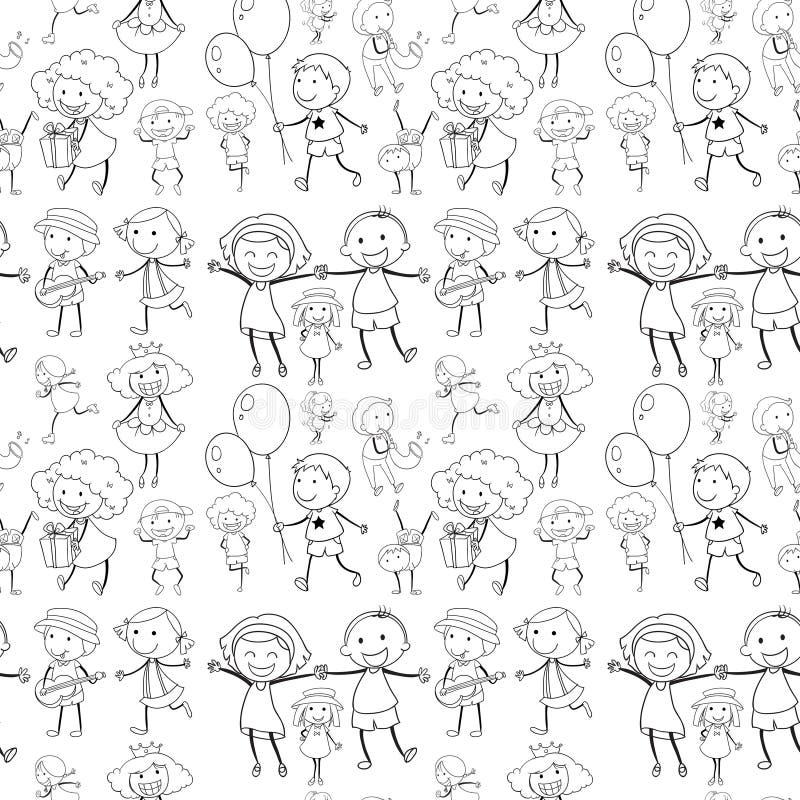 Sömlösa barn som har bra tid stock illustrationer