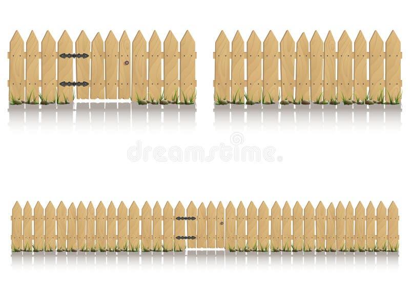 Sömlösa beståndsdelar av trästaketet med porten vektor illustrationer