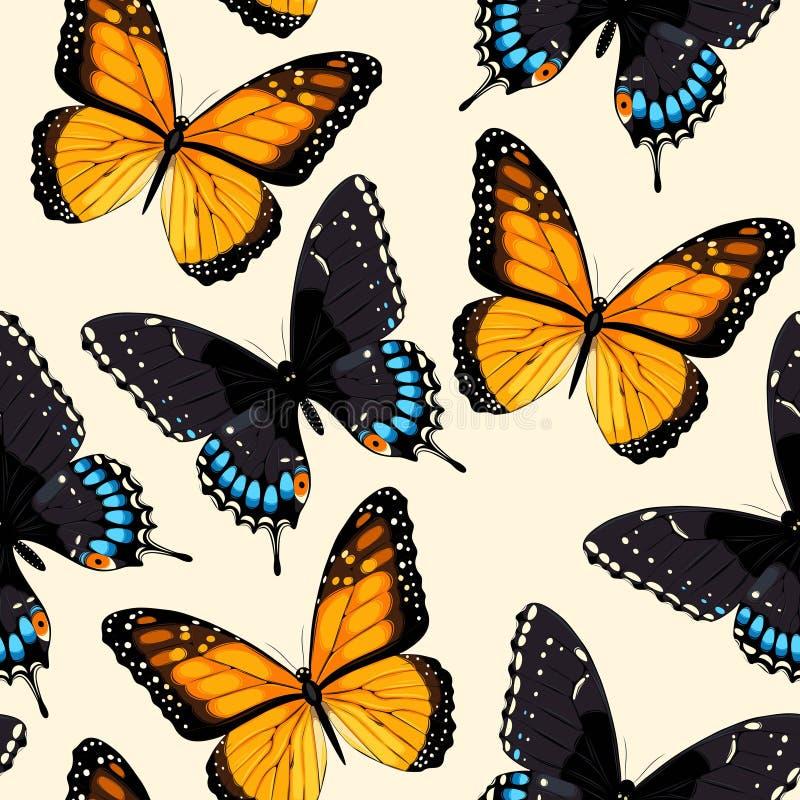 Sömlösa blåa fjärilar vektor illustrationer