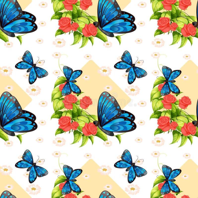 Sömlösa blåa fjärilar och rosor royaltyfri illustrationer
