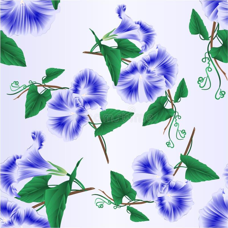 Sömlösa blått för texturmorgonhärlighet fjädrar den redigerbara illustrationen för blommatappningvektorn stock illustrationer