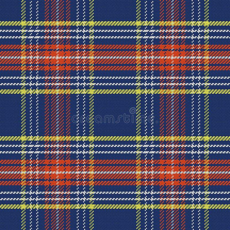 Sömlösa blått för vektor och röd skotsk tartan royaltyfri illustrationer