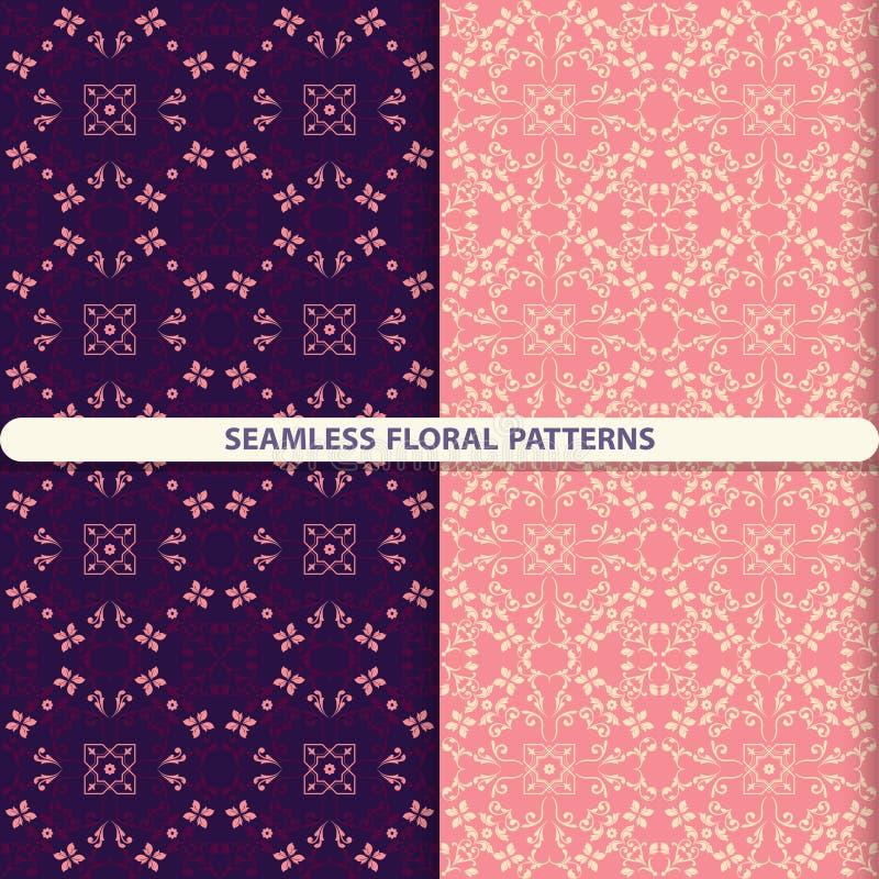 Sömlösa blom- modeller med blom- och botaniska beståndsdelar Blommatextur Köktextiler, tryck för textiler, tapetdesig stock illustrationer