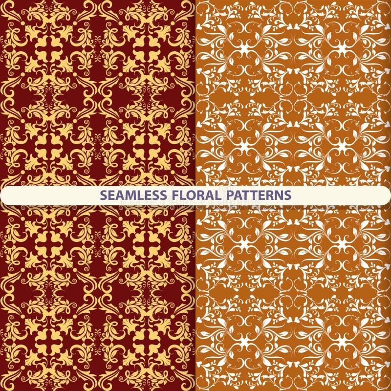 Sömlösa blom- modeller med blom- och botaniska beståndsdelar Blommatextur tryck för textiler, tapetdesign, vändpapper, PA stock illustrationer