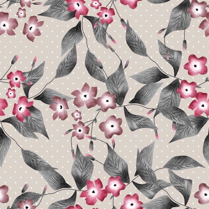 Sömlösa blom- retro modellbakgrundsblommor smyckar textil vektor illustrationer