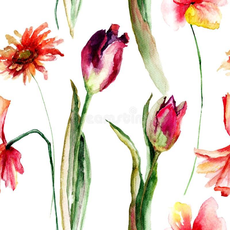 Sömlösa blom- tapeter med vallmo och tulpan och Gerber royaltyfri illustrationer