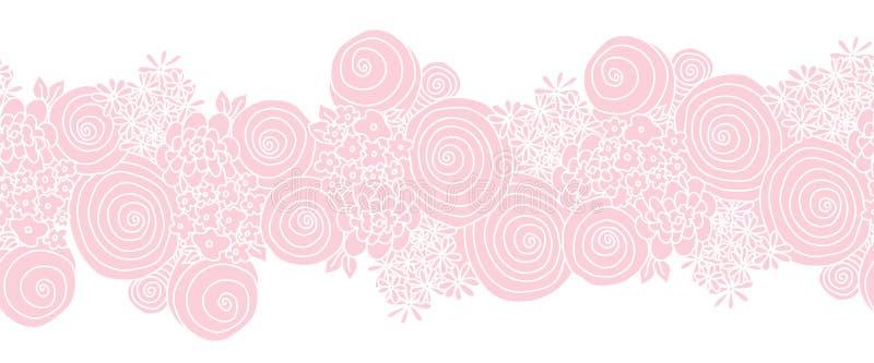 Sömlösa blom- vektorgränsrosa färger Blommor som upprepar bakgrund stock illustrationer
