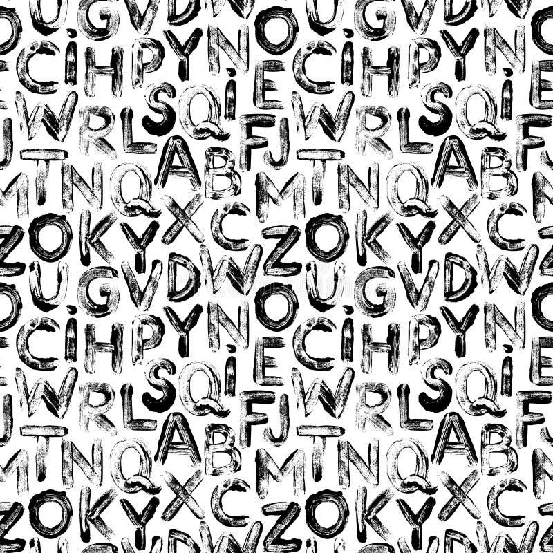 Sömlösa bokstäver i graffiti-format Vektorhanddragen grunge bakgrund vektor illustrationer