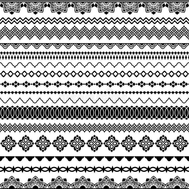 Sömlösa borstar för vektor för ramar, avdelare, gränser stock illustrationer