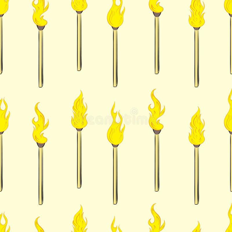 Sömlösa brinnande matchsticks royaltyfri illustrationer