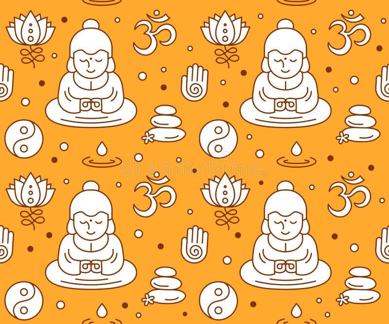 Sömlösa buddistiska religiösa sakrala symboler royaltyfri illustrationer