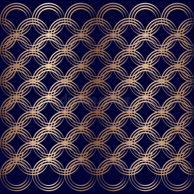 Sömlösa cirklar som överlappar art déco, mönstrar geometriska guld- blått stock illustrationer