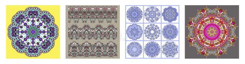 Sömlösa dekorativa blom- band i indisk kalamkaristil vektor illustrationer
