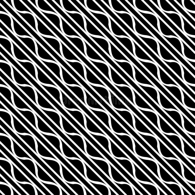Sömlösa diagonala linjer svartvit modell för vektor abstrakt bakgrundswallpaper också vektor för coreldrawillustration Grå färger royaltyfri illustrationer