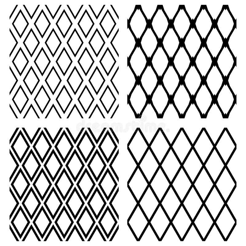 Sömlösa diamantmodeller Geometriska latticed texturer vektor illustrationer
