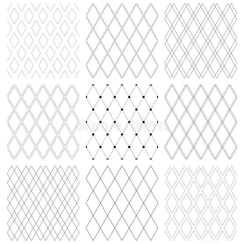 Sömlösa diamantmodeller Geometriska latticed texturer royaltyfri illustrationer
