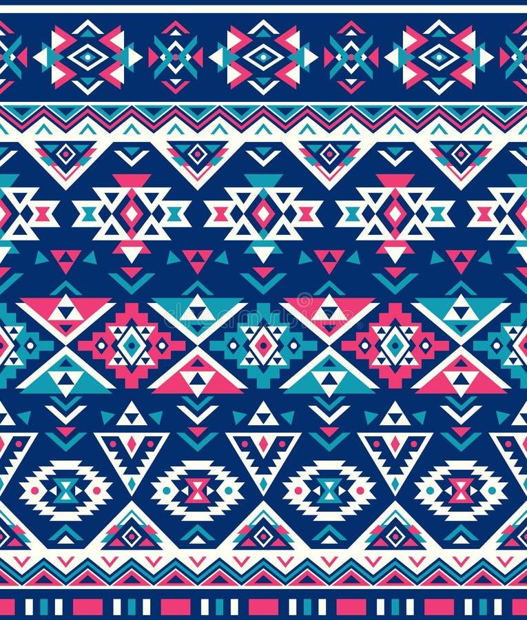 Sömlösa etniska modelltexturer Rosa färg- & marinfärger Geometriskt tryck för Navajo Lantlig dekorativ prydnad royaltyfri illustrationer