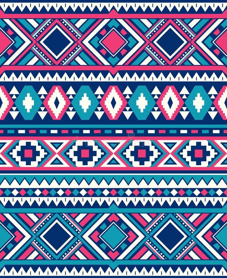 Sömlösa etniska modelltexturer Rosa färg- och blåttfärger royaltyfri illustrationer