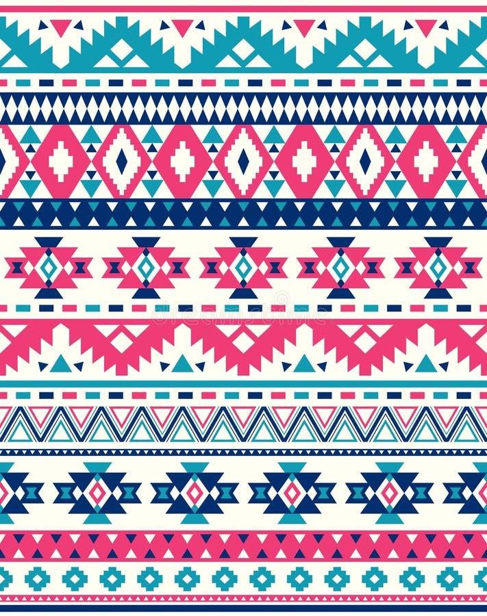Sömlösa etniska modelltexturer Rosa färg- och blåttfärger stock illustrationer