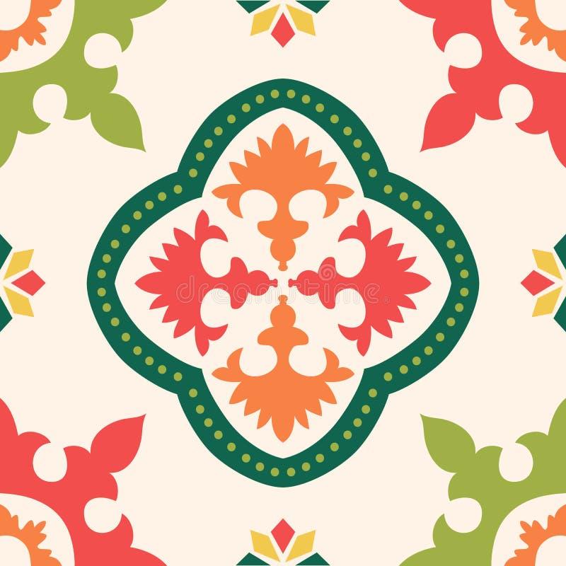 Sömlösa färgglade prydnadtegelplattor royaltyfri illustrationer