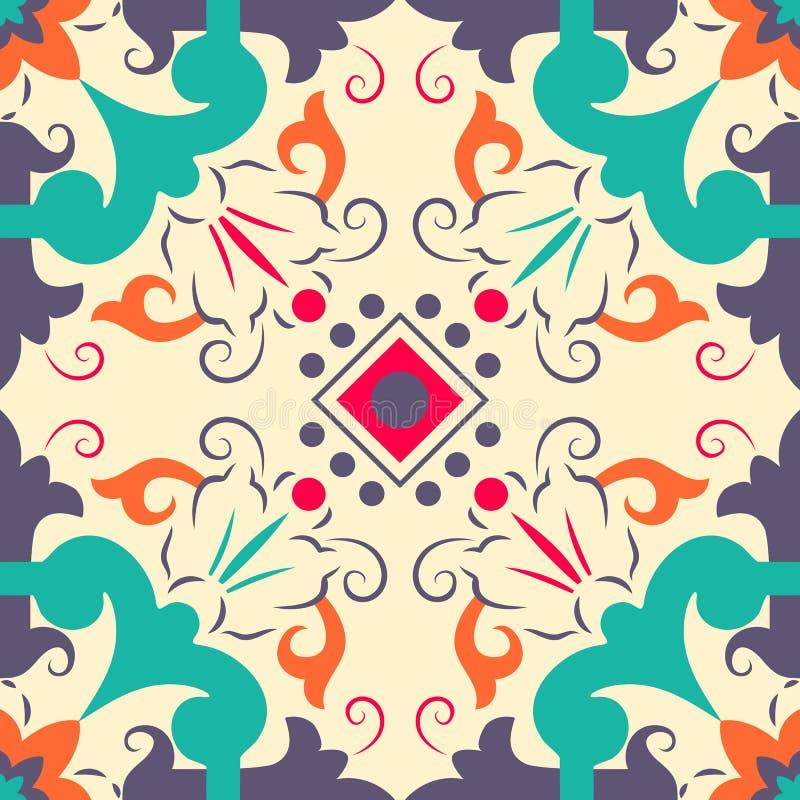 Sömlösa färgglade prydnadtegelplattor stock illustrationer