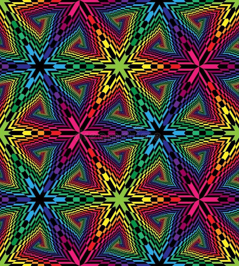 Sömlösa färgrika och svarta spiral av Rectangulesen Optisk illusion av perspektivet Geometrisk Polygonal modell passande stock illustrationer