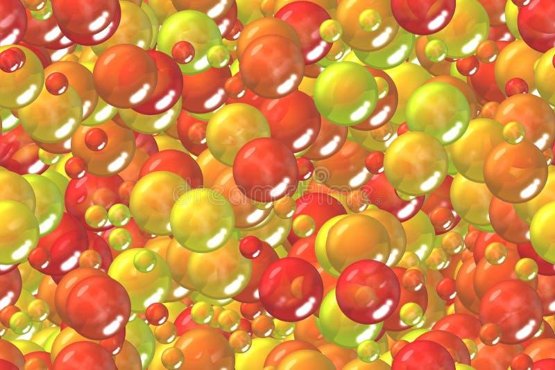 Sömlösa färgrika orange sfärer och bubblor blandar inpackningspapper vektor illustrationer