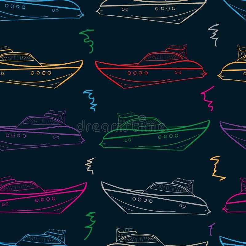 Sömlösa färgyachter royaltyfri illustrationer