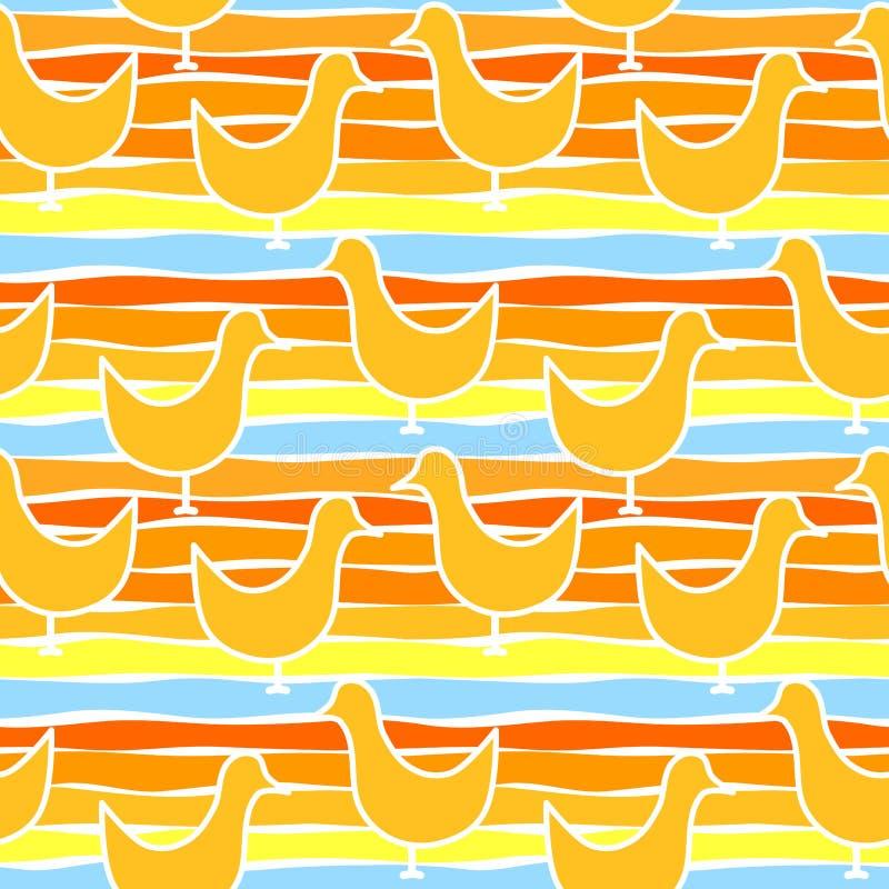 Sömlösa fåglar på stranden royaltyfri illustrationer
