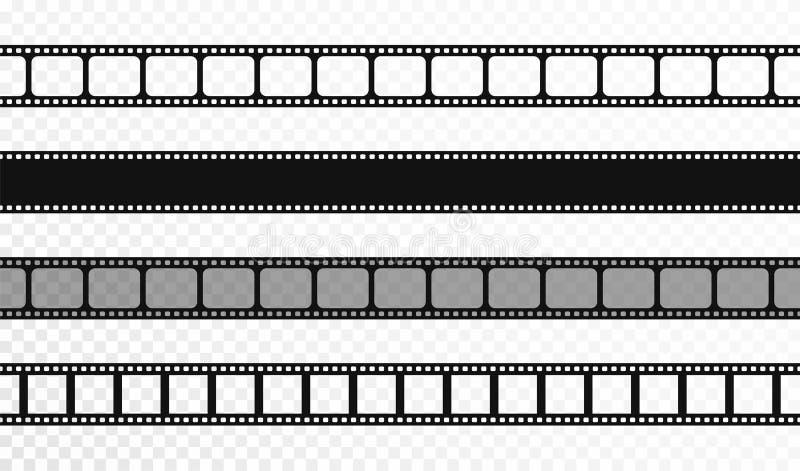 Sömlösa filmremsor på genomskinlig bakgrund Tappningbio och fotoband Retro filmremsor stock illustrationer