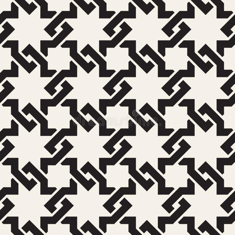 Sömlösa fläta samman linjer modell för vektor Modern stilfull abstrakt textur Upprepa geometriska tegelplattor stock illustrationer