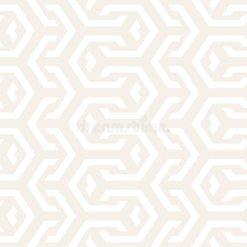 Sömlösa fläta samman linjer modell för vektor Upprepa geometrisk bakgrund med sexhörnigt galler stock illustrationer