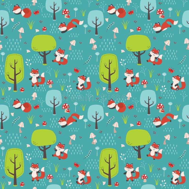 Sömlösa Forest Pattern med rävar, träd, champinjoner, blommor, fjärilar och den plana vektorillustrationen för gräs stock illustrationer