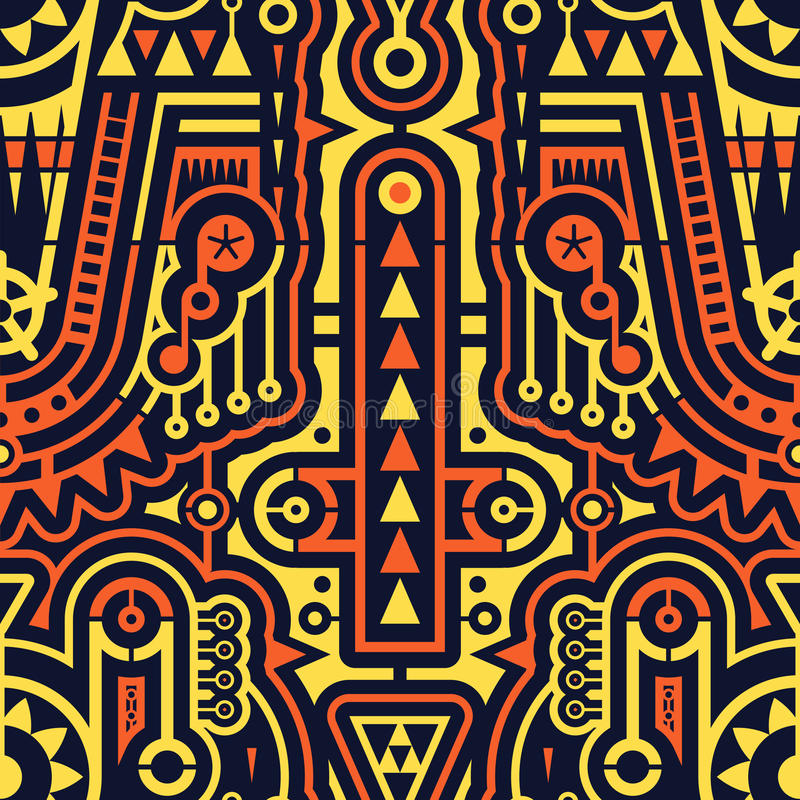 Sömlösa futuristiska moderna Art Pattern i Techno stil stock illustrationer