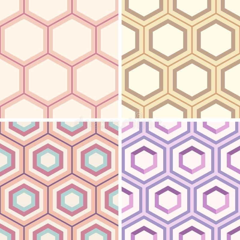 Sömlösa geometriska abstrakt begreppmodeller från färgrika sexhörningar vektor illustrationer