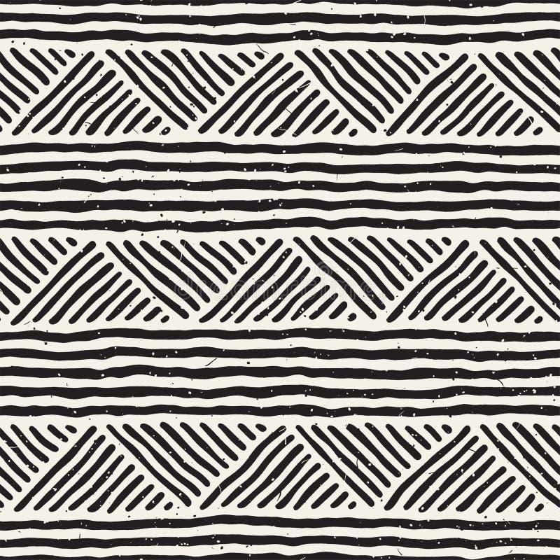Sömlösa geometriska klotterlinjer modell i svartvitt Adstract hand dragen retro textur vektor illustrationer
